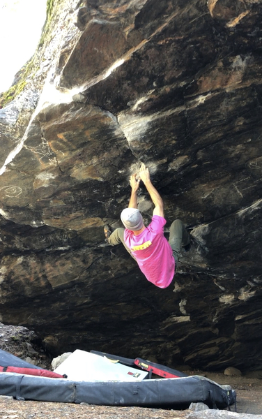 Steep, quality movement on comfy unique holds. The lack of rock quality is easily forgotten while you enjoy continues steep climbing in a unique feature at a beautiful locale.