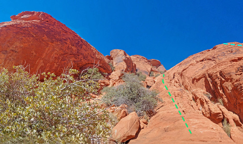 Left NNW into gully along W side of Stone Sweet Ridge of Calico Peak:<br> * blue = main route<br> * green = easier variations