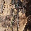 This is the remaining of our 70m rope after rapping from top of pitch 4 (10b). The 70m rope was never cut.
