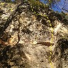 Left-facing dihedral, starts on the lower slab and continues as a layback crack