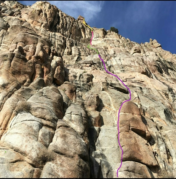 The approximate route. The belays are on gear, so choose your own adventure.