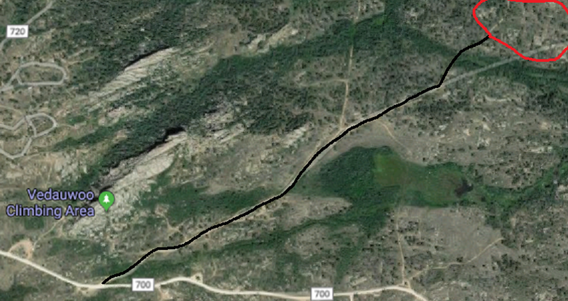 The start of the black line is at the 2nd parking area for The Nautilus (if coming from I-80).  The red circle is approximately where all of The Lost Boulders are located.