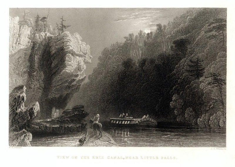 """""""View of the Erie Canal, Near Little Falls"""" - 1839."""