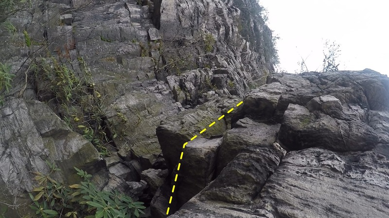 Before crux section, after mantle, 10-foot tackle