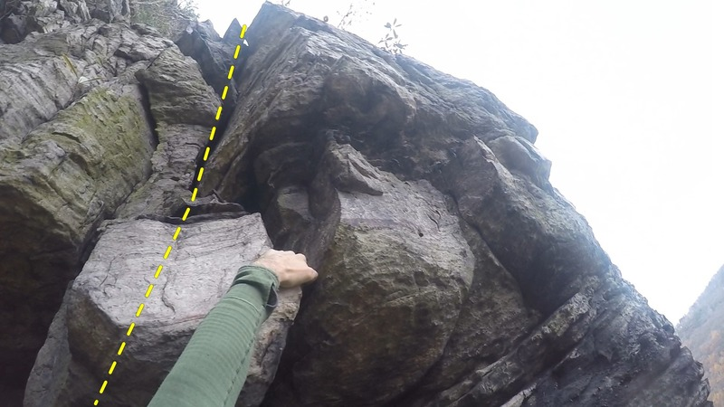 """""""the 10-foot tackle"""" crux"""