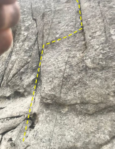 Left rope at start, right rope showing crack to aim for