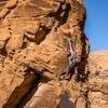 Zach Lovell climbing past the crux on Phurba Tower.