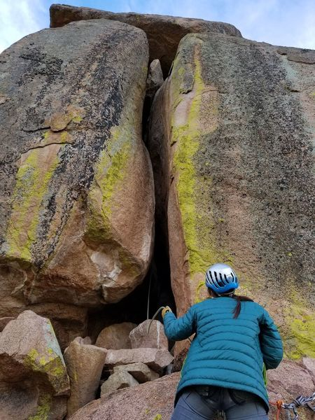 The route from the base, with Hannah on belay. (Photo by M. Rangel)