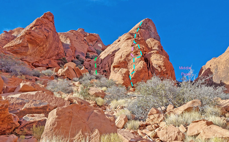 bottom of Stone Sweet Ridge<br> * green = variation 1.2 along left side of ridge<br> * pink = Variation 1.1<br> * blue = main route