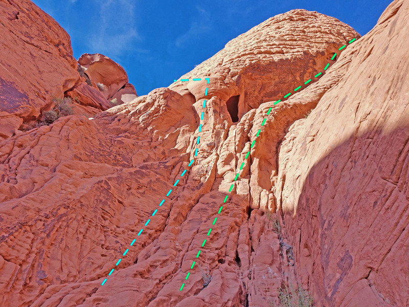 near the top of alternate starts for Stone Sweet Ridge route:<br> * blue = Left Gully variatoin<br> * green = Variation 1.2 (going to P2 top anchor)