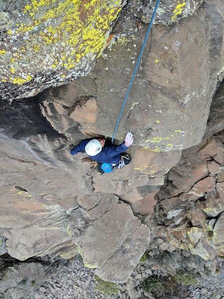 Greg Miller finishing the headwall above Carnwennan Arete