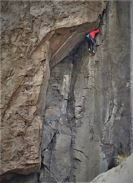"""""""Renowned guide book author Marty Blower Installs Lewis figuring out the crux on Point of Entry. Photo from the Tom Grundy collection"""""""