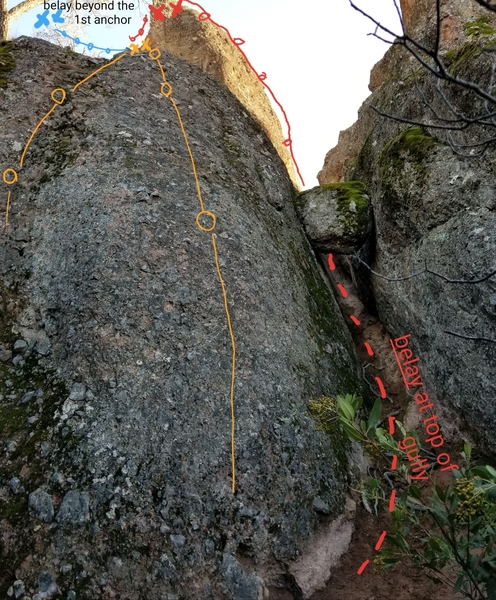 two easy sport routes at the Easterm base of the 2nd sister. additional route and belay above the first set of anchors toward the left, as well as at the very top of the gully on the right