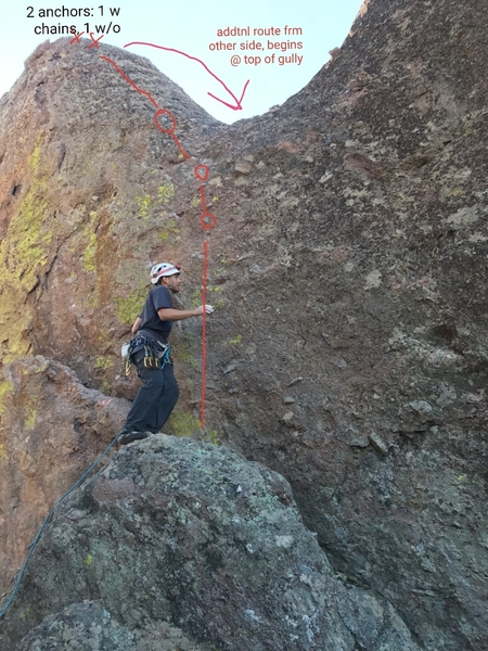 This is from the belay station beyond the 1st anchor on the Eastern side of the second sister. additional route comes up from the other side and begins at the top of a gully. additional route on opposing wall from this belay station