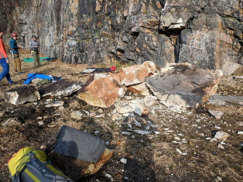 Major rockfall at Chickies Rock yesterday, Sunday Nov. 26. Several tons of rock fell to the base of perhaps the most popular climb on the main wall, landing right at the base of Sunday Morning crack where everyone stands to belay.