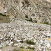 Massive talus fan below 3 O'clock Buttress from storm last winter. Completely obliterated the approach trail.