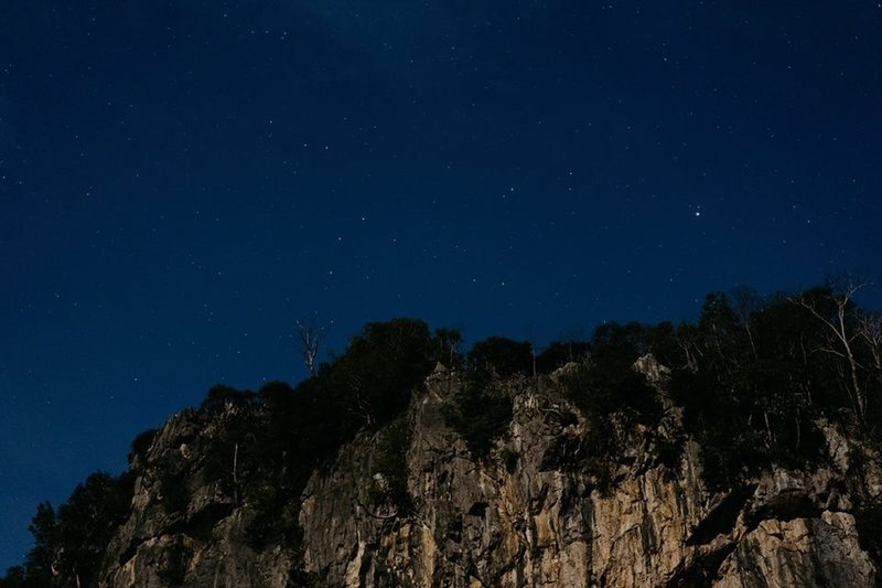 Upper River wall at night