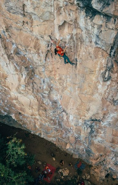 """Puntarika """"Mean"""" approaching the crux of Siam Paradise.  5.11d"""