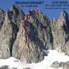 Phototopo for the East Ridge of Bedayan Minaret. <br> <br> Red line = ascent path<br> Numbered circles = belays<br> Green arrows = descent path.