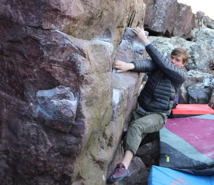I am not saying this is the right beta, but it is the best beta! Mathias at the crux of Recreational Vehicle (V4)