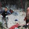 Kato Michihiro (Coral Rock Gym Owner) and Tommy Caldwell Look up at Habu Sake 5.13d