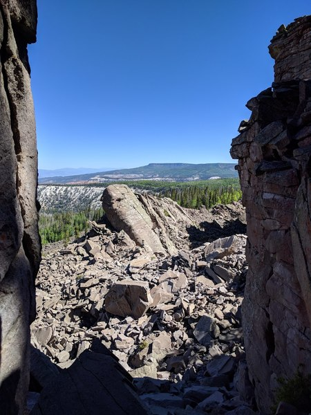 Fallen towers and talus as far as the eye can see in this so far untouched area of the J