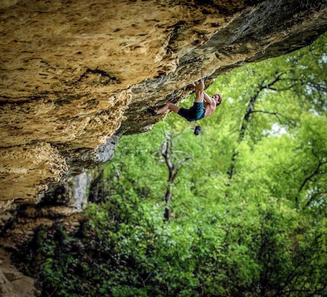 Evan Johnson moving through steep stone
