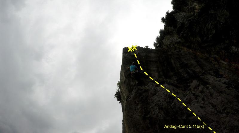 Matthew Lewis climbing up Andagi-Cant