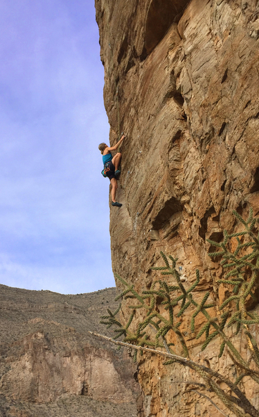 "Susan at the crux on a ""cleaning"" run