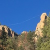 Successful slackline between Block Tower and Cynical Pinnacle witnessed from the approach.