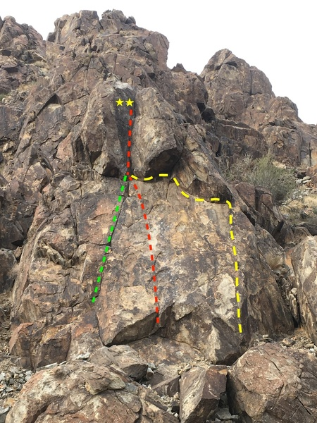 Green: Line for Tail 5.6 (T/TR)<br> Red: Direct Tail 5.7 (S)<br> Yellow: Ride the Tail 5.9 (TR)