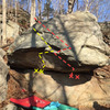 UFO boulder: Sirens of Titan (V3-4) in yellow, Tralfamadore (v4-5) in orange/red