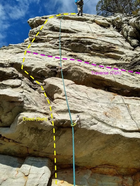 BOLT 2 BETA: <br> Option 1: pull the roof (a 9ish move in line with the rope).<br> Option 2: start 10' right, traversing back to the 2nd bolt (hell of a fall if you blow it).