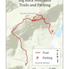 Major trail locations from the two parking areas. Map credit goes to Kyle Jones.