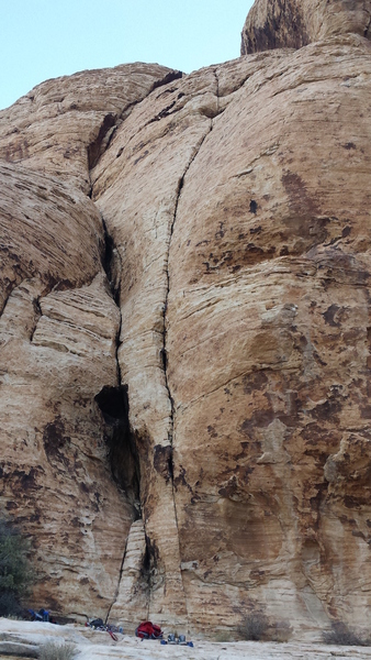 Climb the thin seam/crack to the top of formation.