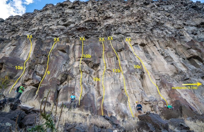Overview of routes at Tragic Alley. This view is a bit distorted. Above the anchors lies a 8-12 ft wide ledge with the more broken section above.