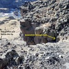 View from rim showing shelf and two options for descending cliff band. 1. Rap station for a