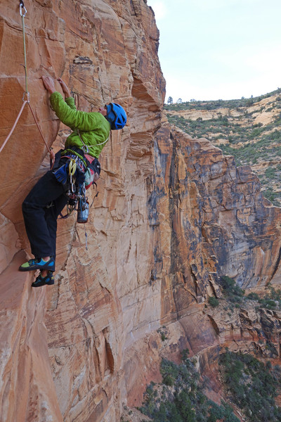 Exiting the primo belay ledge and heading over the Tetris blocks at the start of P3.