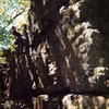 Joey Vulpis bouldering at Rifle Camp Park in the early 2000's.