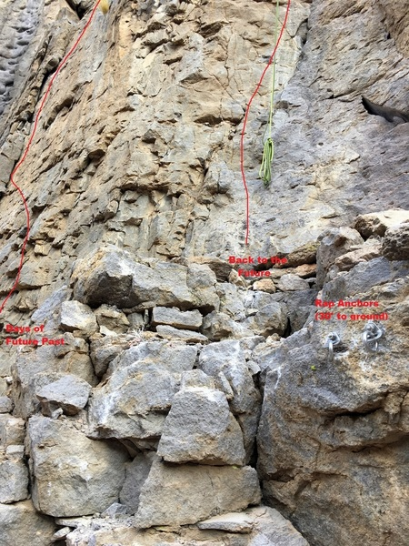 Location of rappel anchors for the upper ledge.