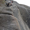 Route follows the orange rope and then continues on to the deception crack anchors