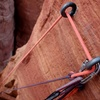 Rap to the notch with double ropes or a single 70.