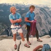 John Bachar and Peter Croft atop Half Dome after their historic link-up of El Cap and Half Done in under 24 hours (1986)<br> <br> Photo by Phil Bard