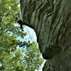 """Flying at the crux"" on ""Cruise This"" (.12a)   Holiday Block> Sand Rock, Alabama  >, photo credit @Big Bert"