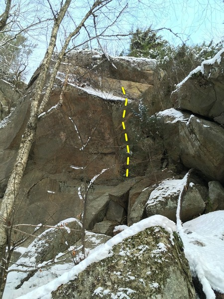 located in the gully, on the wall on the left. Two bolts to an anchor above the slab.