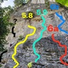 Diamond Cave Routes: Run Away (yellow), Chok Dee/Mot Daeng (teal), Keep the Jam Man (red) and Les Petites Oreilles (blue).  I was climbing with a local kid who didn't know the route names in English. Let me know if I got any wrong!