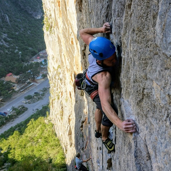 On the send of Salty Dog (12a) on the Club Mex Wall in EPC.