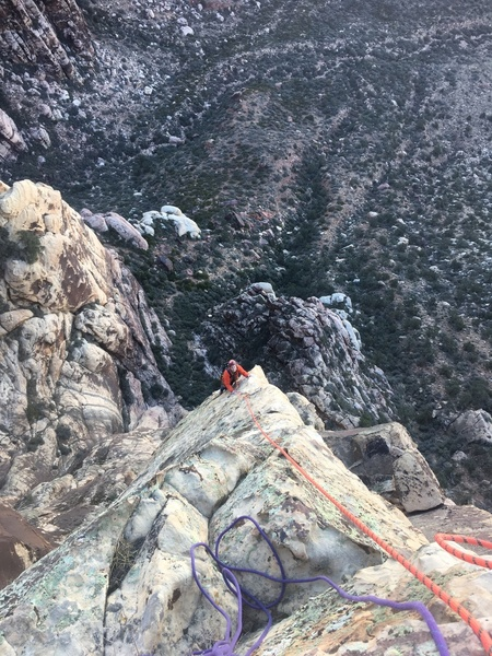 """Finishing off pitch 2 on the """"licheny"""" side of the arete."""