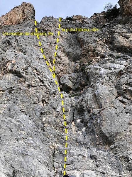 The start of Un Monton de Chatarra (6a) and La Putschitrona (6b+)