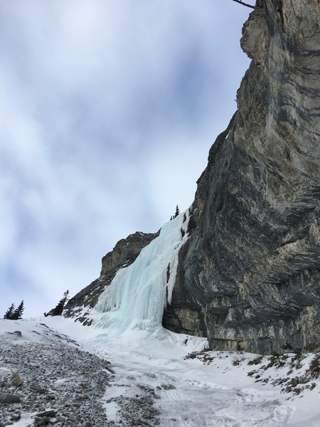 After some rambally ice and snow slopes above the first pitch your reach the second crux pitch that goes at about WI3.